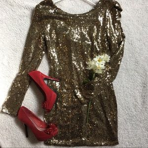 Gold sequin Holiday Mini dress✨